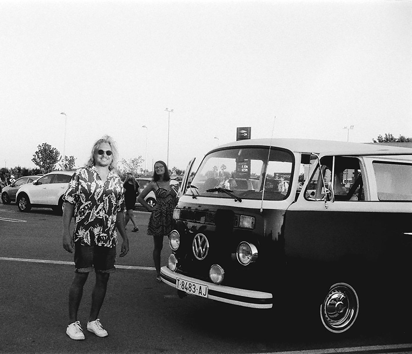 analog, Minolta, 35 mm, Bulli, T2,  Volkswagen, Oldtimer, Costa Brava im Vintage-Style