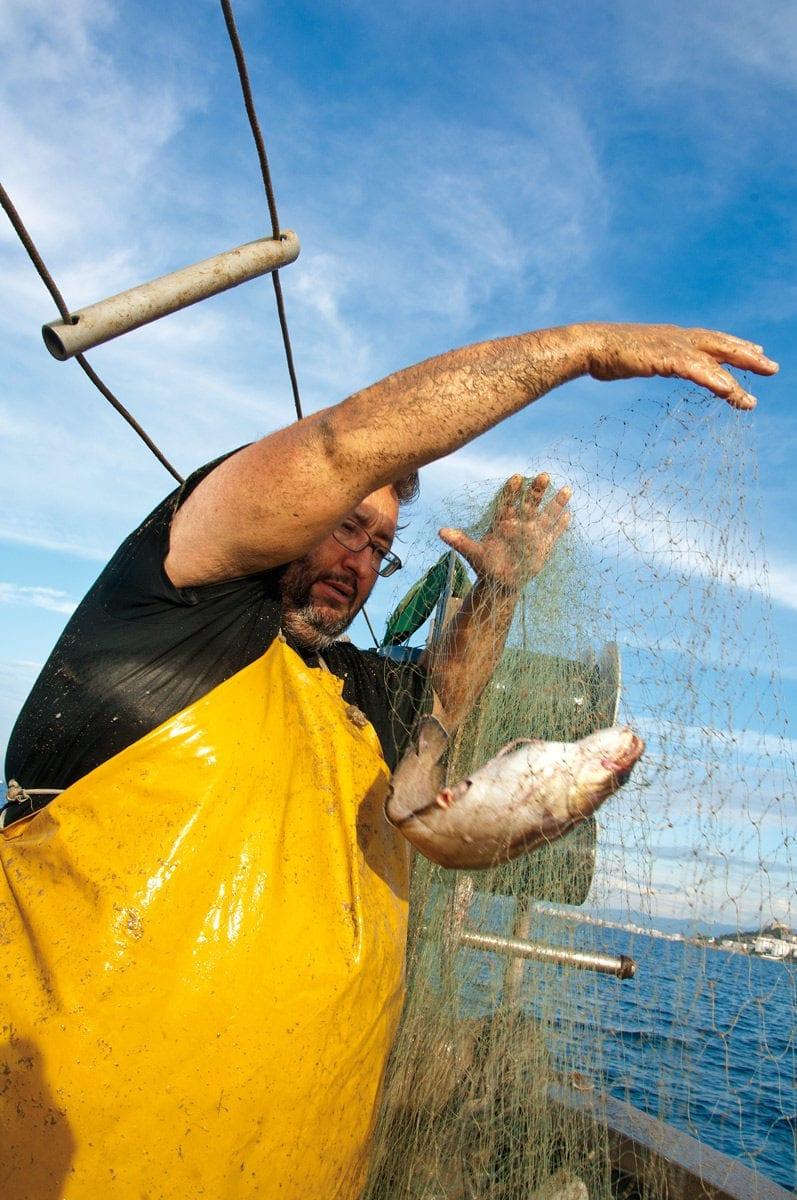Fischer holt Fisch aus dem Netz