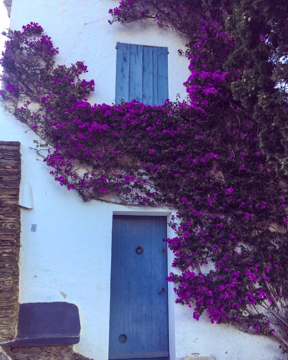 Haus mit blauer Tür und mit Buganvilla bewachsen