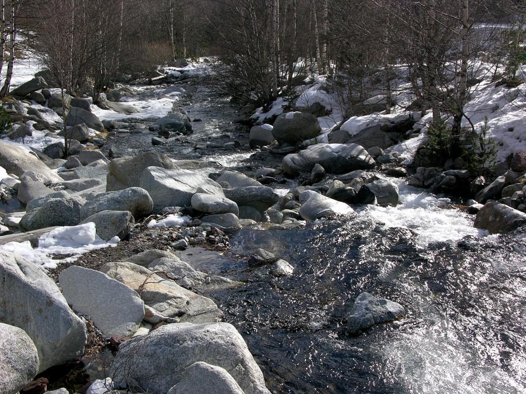 Pyrenaen-Bach-Schnee